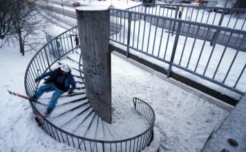 Spiral rail on skis
