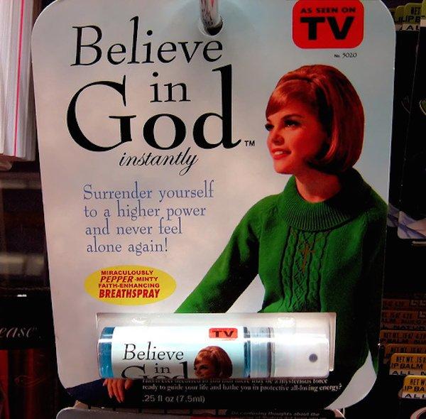 Le spray pour croire en Dieu