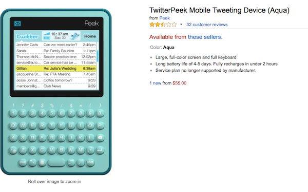 Un truc qui n'est pas un téléphone et qui permet de Tweeter et de lire des Tweets
