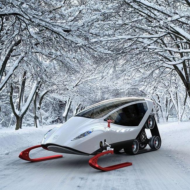 Engin-pour-se-déplacer-dans-la-neige-futuriste