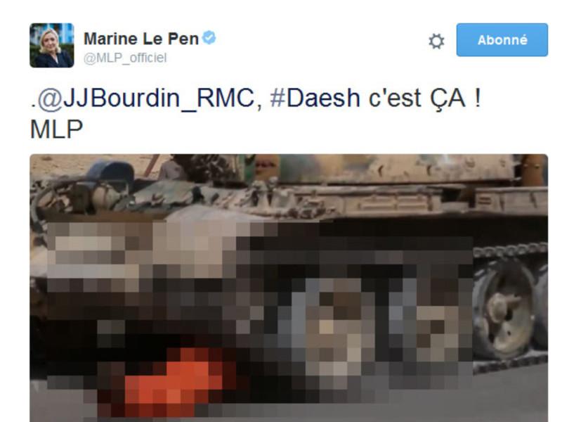 Photos trash de Daech Marine Le Pen