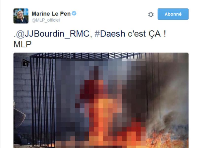 Photos trash de Daech Marine Le Pen_1