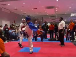 Il met un gros KO à son adversaire au Taekwondo
