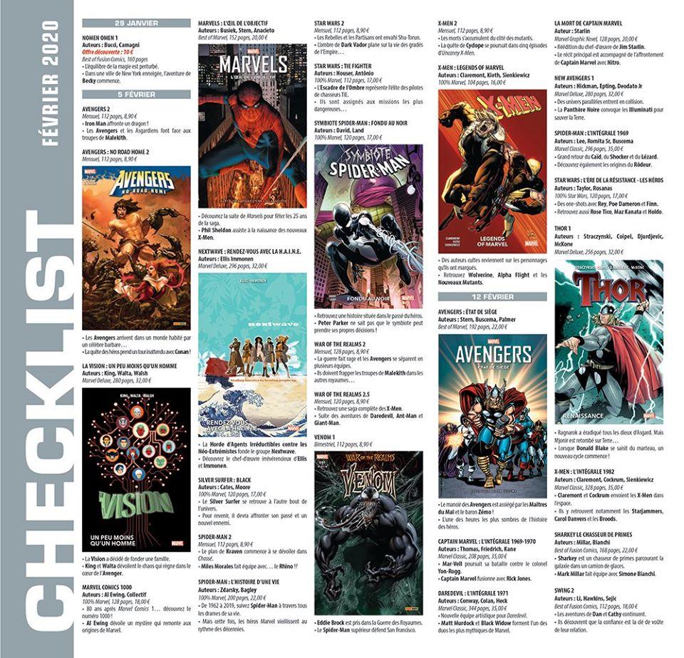 checklist de Panini Comics en image pour le mois de février